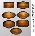 wooden signs  vector icon set | Shutterstock .eps vector #723394903