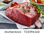 piece of raw rump steak... | Shutterstock . vector #723396163