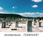 Small photo of the remains of square stone columns. pyramid in Tula De Allende. Mexico