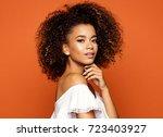 portrait of beautiful african... | Shutterstock . vector #723403927