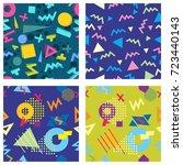seamless geometric pattern in... | Shutterstock .eps vector #723440143