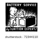 battery service 2   retro ad...   Shutterstock .eps vector #72344110