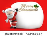 christmas card with santa claus ... | Shutterstock . vector #723469867