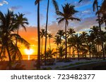 amazing colourful sunset in... | Shutterstock . vector #723482377