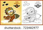 funny jet pilot  vector cartoon ... | Shutterstock .eps vector #723482977