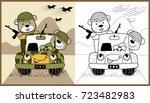 animals army on military truck  ... | Shutterstock .eps vector #723482983