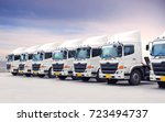 new truck fleet is parking at... | Shutterstock . vector #723494737