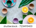 tableware pattern. cups and... | Shutterstock . vector #723495403