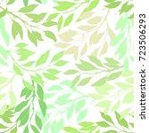 seamless pattern green leaves... | Shutterstock .eps vector #723506293