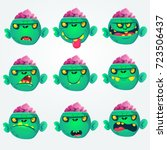 cartoon zombie head  emotion... | Shutterstock .eps vector #723506437