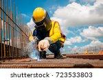 industrial welder welding... | Shutterstock . vector #723533803