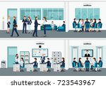 modern office interior room... | Shutterstock .eps vector #723543967