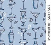 seamless pattern with cocktails ... | Shutterstock .eps vector #723547273