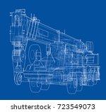 mobile crane. vector rendering... | Shutterstock .eps vector #723549073