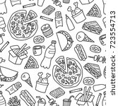 fast food. seamless pattern in... | Shutterstock .eps vector #723554713