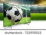 football stadium in the evening ... | Shutterstock . vector #723555013