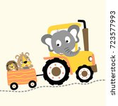 animals playing on tractor ... | Shutterstock .eps vector #723577993