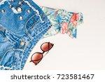 travel concept. jeans ... | Shutterstock . vector #723581467