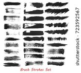 grungy brush strokes set over... | Shutterstock .eps vector #723592567