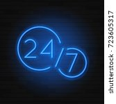 open 24 7 hours neon symbol... | Shutterstock .eps vector #723605317