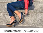 broken stiletto heel on the... | Shutterstock . vector #723635917