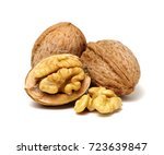 cracked walnut isolated on the... | Shutterstock . vector #723639847