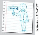 casual man holding salary banner | Shutterstock .eps vector #723640567