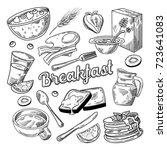 healthy breakfast hand drawn... | Shutterstock .eps vector #723641083