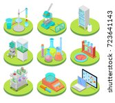 chemistry science lab isometric.... | Shutterstock .eps vector #723641143