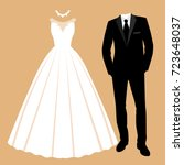 wedding card with the clothes... | Shutterstock . vector #723648037