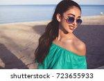 portrait of a beautiful woman... | Shutterstock . vector #723655933