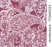 seamless pattern with paisley... | Shutterstock .eps vector #723660223