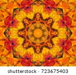 seamless kaleidoscope orange... | Shutterstock . vector #723675403