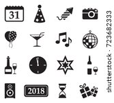 new year icons. black flat... | Shutterstock .eps vector #723682333