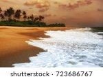 ocean shore in the evening as... | Shutterstock . vector #723686767