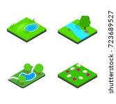 green land icon set. isometric... | Shutterstock .eps vector #723689527