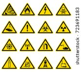 warning and hazard symbols on... | Shutterstock .eps vector #723691183