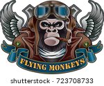 monkey wearing old pilot helmet ... | Shutterstock .eps vector #723708733