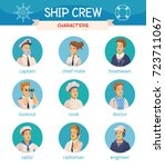 yacht ship crew characters... | Shutterstock .eps vector #723711067