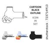 hashish pipe icon in cartoon... | Shutterstock .eps vector #723714913