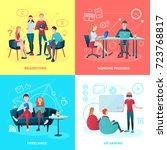 creative team coworking people... | Shutterstock .eps vector #723768817