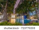 swimming pool and garden...   Shutterstock . vector #723770203