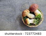 Boletus Edulis Mushrooms In A...