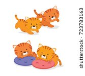 twin kittens. two little cute... | Shutterstock .eps vector #723783163