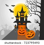 halloween pumpkins and dark... | Shutterstock .eps vector #723795493