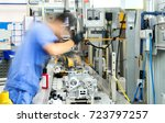 car production line  skilled... | Shutterstock . vector #723797257