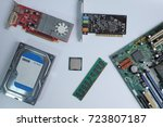 top view  computer hardware ... | Shutterstock . vector #723807187