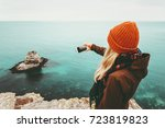 woman taking photo by... | Shutterstock . vector #723819823