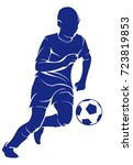the child plays football | Shutterstock .eps vector #723819853
