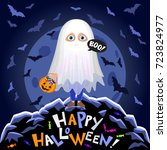 happy halloween. boy in... | Shutterstock .eps vector #723824977